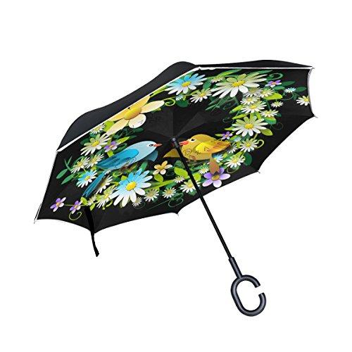 (AHOMY Inverted Reverse Umbrella Wreath Flower Bird Windproof for Car Rain)