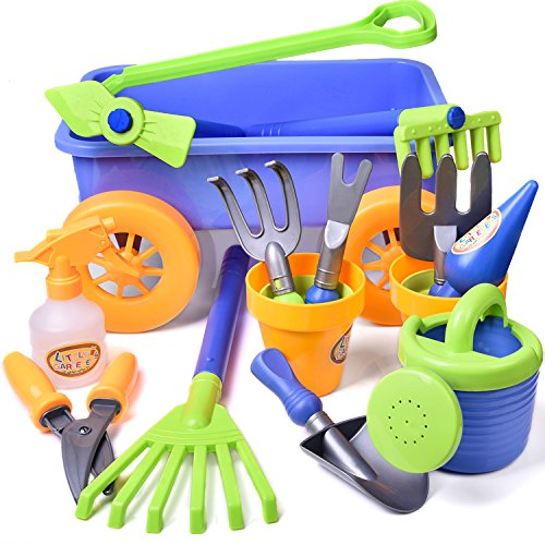 Kid's Garden Tool Toy Set Beach Sand Toy with Wagon Kids Outdoor Toys Gardening Backyard Tool Set with Watering Can, Shovels, Rakes, Bucket, Spray Bottle, Scissor, and 4 Castle Molds Packaged - 15pcs