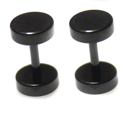 10mm Pair BLACK Faker Stretcher Cheater Stainless Steel Mens Womens Upper Ear Earrings Studs Plug 1cMM2mn5iL