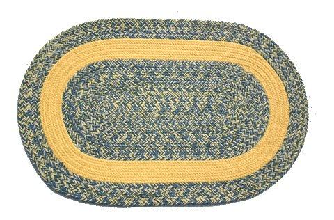 Williamsburg Blue Rug (Oval Braided Rug (2'x3'): Williamsburg Blue, Yellow & Cream - Yellow Band )