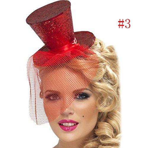 Binglinghua Mini Glitter Top Hat Headband Veil Ladies Burlesque Hen Night Party Fancy Dress (wine red)]()