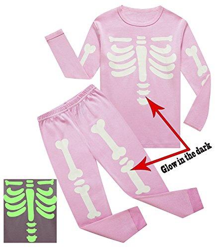 IF Pajamas Little Girls Skeleton Halloween Pajamas Sets Long Sleeve Kids Toddler Pjs Size 4T