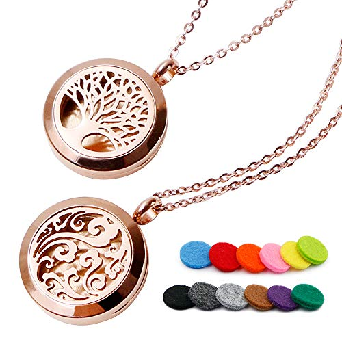 RoyAroma 2PCS Rose Gold Aromatherapy Essential Oil Diffuser Pendant Locket Necklace, 24