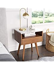 Nathan James 90101 Mid-Century James Faux White Marble Accent Side or End Table with Walnut Finish and Marble Tabletop with Storage, White/Brown