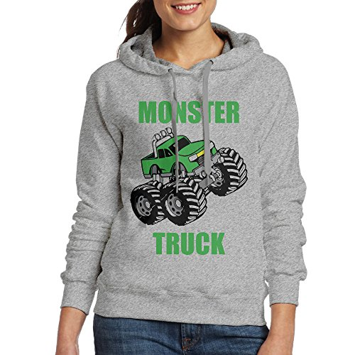 Bekey Women's Monster Truck Hoodie Jacket XL Ash
