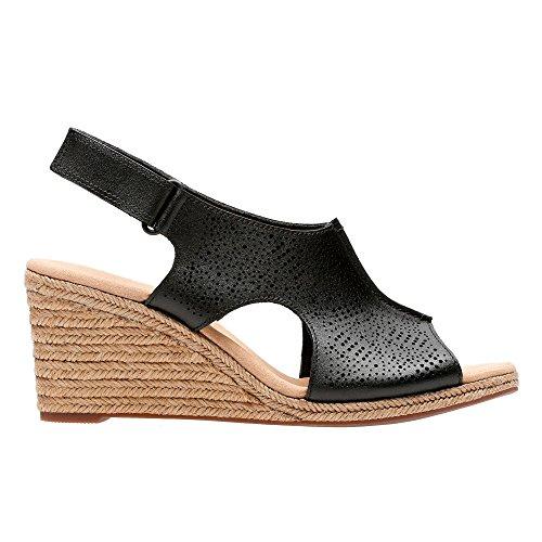 Heel Wedge Mid Black Sandals Peep Toe Womens Clarks Rosen' 'Lafley Leather 7001wZ