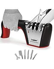 longzon Messenslijper -Messen slijper -4 in 1 Proffesioneel Slijper -4 Standen -Verschillende Slijpkoppen voor Scharen en Keukenmessen van Groottes, met Anti-snij Handschoen