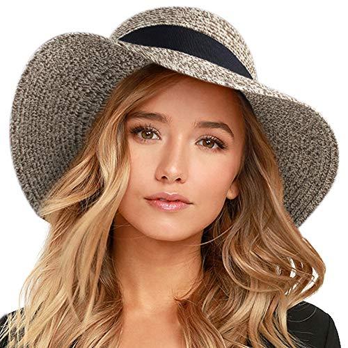 FURTALK Womens Beach Sun Straw Hat UPF50 Travel Foldable Summer HatFURTALK Womens Beach Sun Straw Hat UV UPF50 Travel Foldable Brim Summer UV Hat (Large Size (22.4