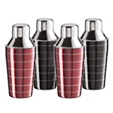 Oggi 7384 8-1/2-Ounce Stainless Steel Mini 4-Piece Cocktail Shaker Set, 2 Red and 2 Black