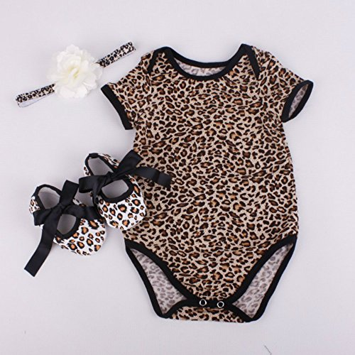 Reborn Baby Doll Leopard Romper Clothes Set for 20-22 Inch Reborns Newborn Girl Dolls Bodysuit (Reborn Doll Clothes)