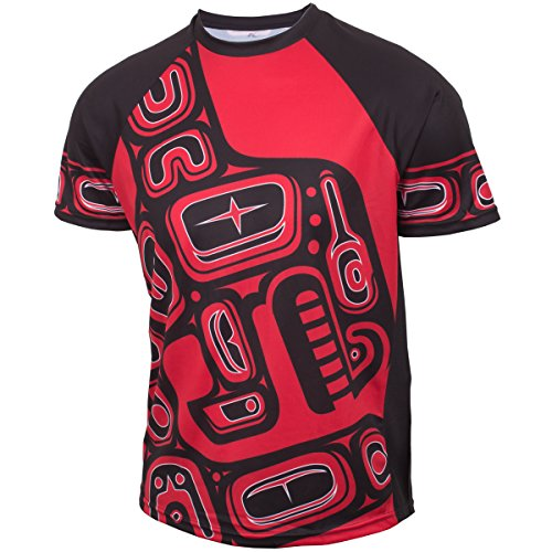Native American Red and Black Orca Whale - Men's Short Sleeve Tech - Northwest Black Shirt