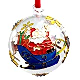 THE JOY TREE Cloisonne Santa Sleigh Glass Ball Ornament