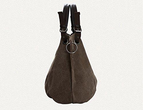 lqt Mujer Modern nostalgiche Mode Canvas grande hombro bolso bolso tornister bolsillos marrón