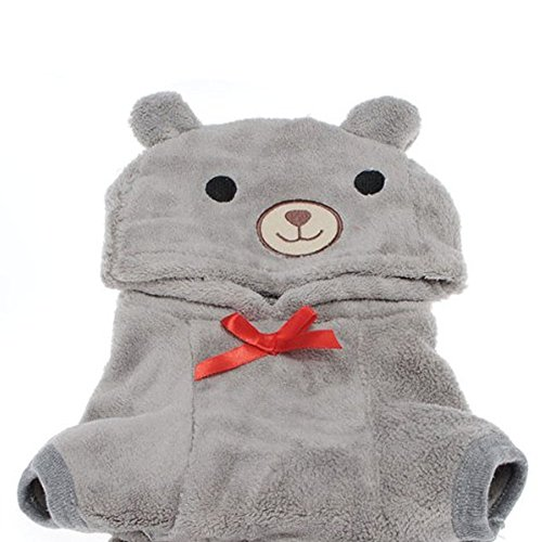 Image of Dog Outfits, FuzzyGreen Cute Bear Costume Jumpsuit Hoodie Clothes Apparel for Dog Puppy Pet (XS, Grey)