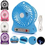 Finaux Mini Portable USB Rechargeable 3 Speed Fan (Colors May Vary)