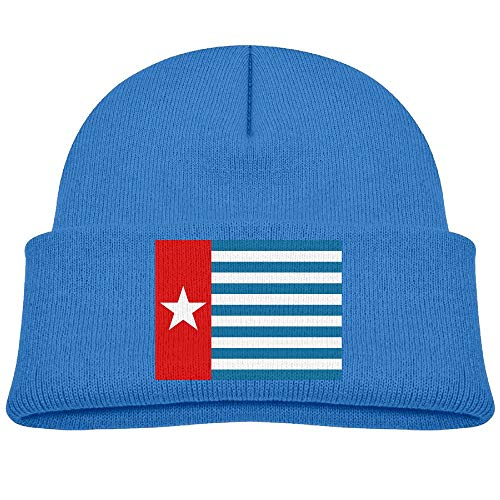 Boys Girls West Papua National Flag Knitted Beanie Caps Cute Kids Warm Hats Adjustable