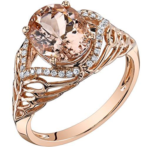 14K Rose Gold Morganite Diamond Ring 2.50 Carats Oval Shape ()