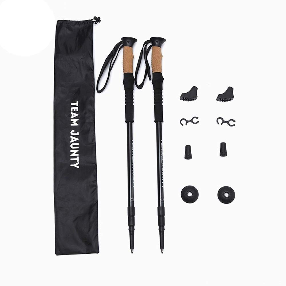 CCwenjing Three-Section Straight Shank Inner Lock Shock Absorption Trekking Pole Set Outdoor Hiking Telescopic Lightweight Walking Stick (Color : Black, Size : 67-135cm) by CCwenjing