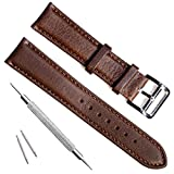 Handmade Vintage Replacement Leather Watch Strap/Watch Band (22mm, New Buckle/Coffee)