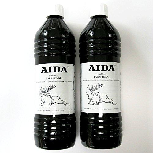 Petroleum AIDA 2 x 1 Liter, hochreines Lampenöl, geruchlos, hochwertig, für Petroleumlampen und Öllampen