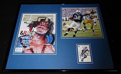 Edgerrin James Signed Framed 16x20 Photo Display JSA - Framed Edgerrin James