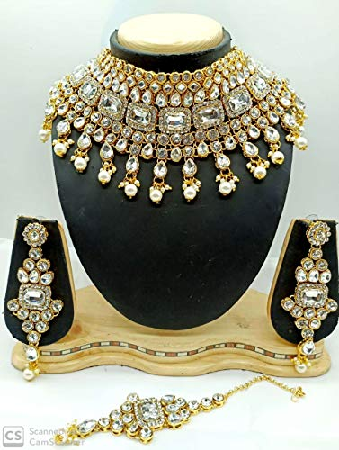 CROWN JEWEL Indian Bridal Fashion Jewelry Wedding Gold Tone Necklace Earring Set (White)