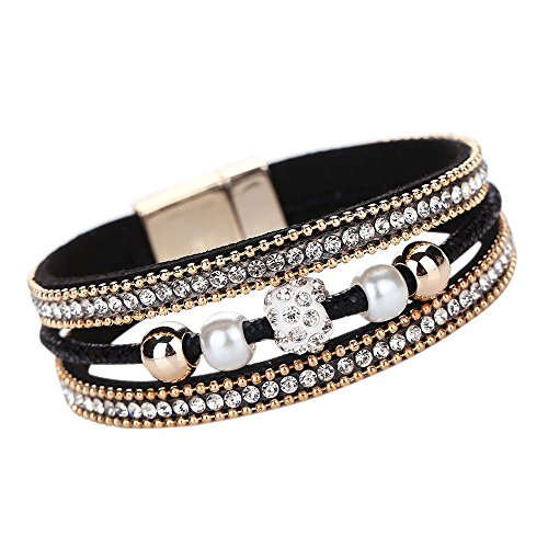 (Alueeu Bracelet Jewelry Womens Accessories Women Multilayer Bangle Bracelet Crystal Beaded Leather Magnetic Wristband BK Black)