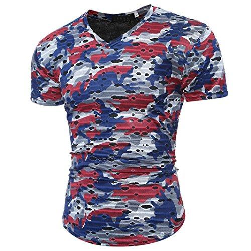 Col T Vêtements Slim Camouflage shirt Rouge Pour Homme Personnalité Shirt Adeshop V Exercice De Mpression D'été Courtes Manches zzqwg7