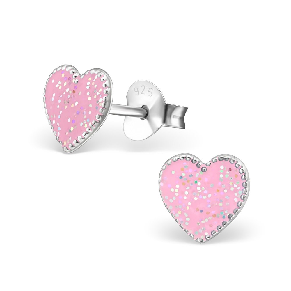 Hypoallergenic Heart Stud Earrings for Girls (Nickel Free and Safe for Sensitive Ears) - Light Pink Glitter