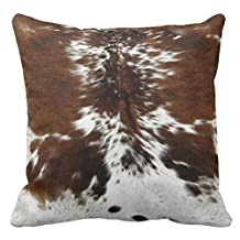 Lightinglife Throw Pillow Case Tri Color Brown Cowhide Print Pillows