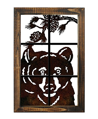 Metal Bear Head Wall Art Lazer Cut Out Wood Frame Large 20