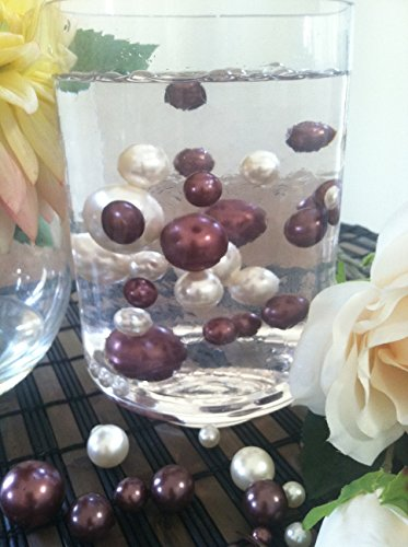 Vase Filler Pearls For Floating Pearl Centerpiece, 50 Chocolate/Ivory Pearls, Jumbo & Mix Size No Hole Pearls (Transparent Gel Beads Required To Create Floating Pearls Sold separately)