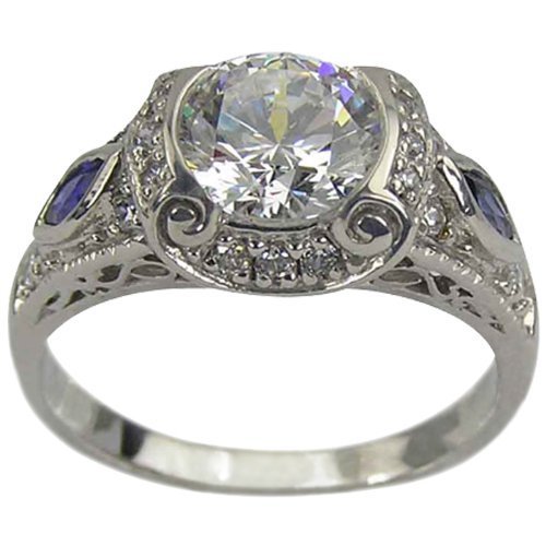 - Art Deco Diamond Engagement Ring Blue Sapphire Side Stones