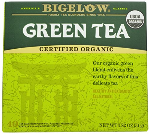 Bigelow Organic Green Tea 40 Bags (Pack of 6), Premium Bagged Organic Green Tea, Antioxidant-Rich All Natural Medium-Caffeine Tea in Individual Foil-Wrapped (6 Organic Green Teas)