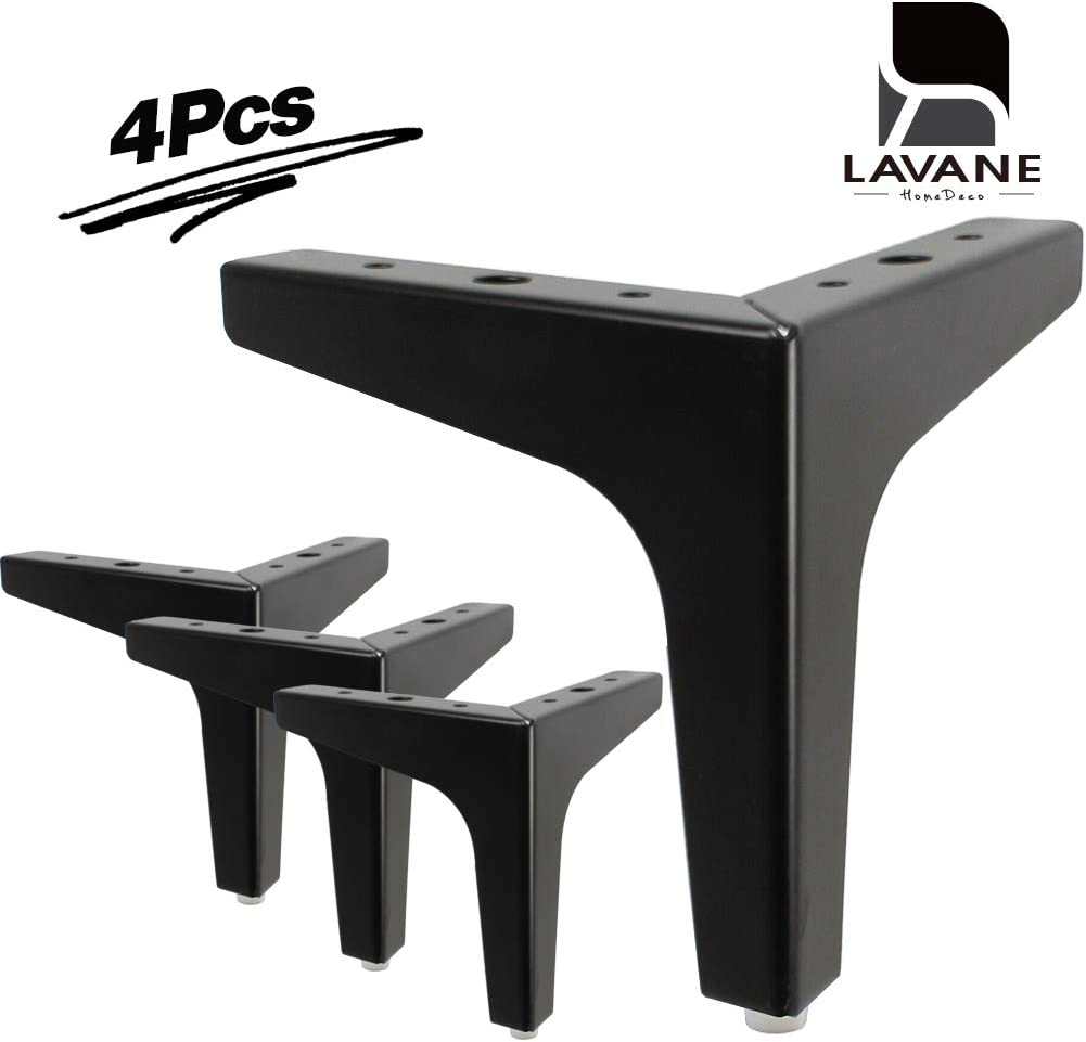 "7"" / 17.5cm Furniture Legs, La Vane Set of 4 Modern Metal Diamond Triangle Furniture Feet DIY Replacement Black for Cabinet Cupboard Sofa Couch Chair Ottoman"