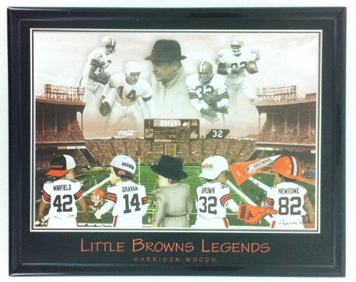 Cleveland Browns Legends: Warfield, Graham, Brown, Newsome, Framed Print Wall Art F6642A