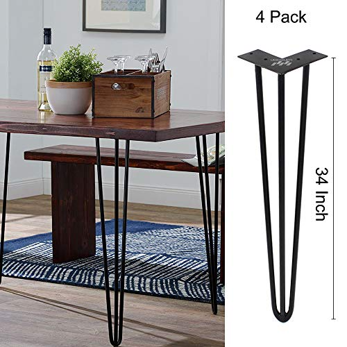 WINSOON Industrial Iron Hairpin Table Legs 34 Inch Set of 4 Pack Metal Bench Legs for Furniture feet Wooden Desk Legs Hair Pin Design (34 Inch 3-Rod Black)