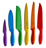 Good Kitchen Knives Set Culina 6 Pieces Color Knife and Blade Guard Set, Nonstick Stainless Steel