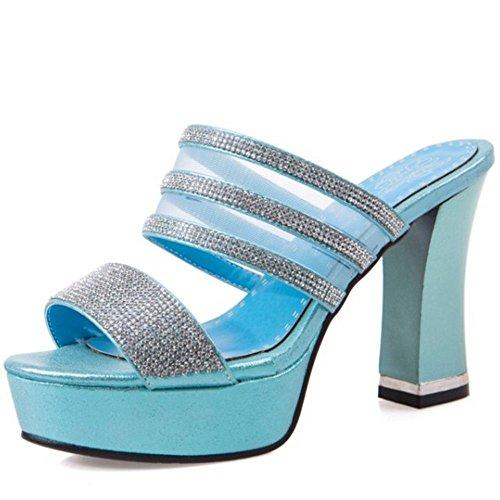 Talons Femmes Mode blue Zanpa Mule Sandales q4zgRg