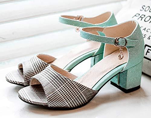 Femme Cheville Vert Sandales Breloque Aisun Bout Ouvert Bride Mode Basse XzxzqHwd8