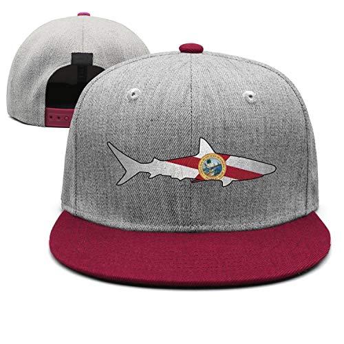 CZksjuds Fashion Strapback Cap Men Florida Flag Shark Outline Burgundy Adjustable Designer Fitted Unisex Hats -