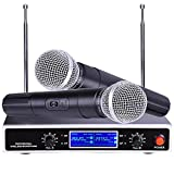 AW 2 Channel VHF Handheld Wireless Microphone System LCD Display 1/4\