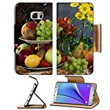 MSD Premium Samsung Galaxy Note 5 Flip Pu Leather Wallet Case Note5 IMAGE ID: 28779045 close up elegant still life of various ripe fruits and delicate flowers on a dark background studio