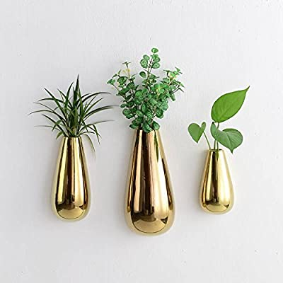 Purzest 3 PCS Gold Ceramic Wall Mounted, Hanging or Freestanding Decorative Flower Planter Vase Holder Display - The price is 3PCS of mixed sizes(one small and one medium and one large. DESIGN:A simple, elegant design that can be used to add a modern decorative touch and some natural greenery to your indoor space. Perfect way to add color and liven up your living space with indoor plants such as small succulents, air plants, mini cactus, faux succulents, faux sedums and other artificial plants and flowers. - vases, kitchen-dining-room-decor, kitchen-dining-room - 51zwna0cbNL. SS400  -