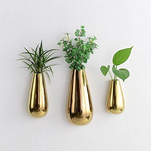 Purzest 3 PCS Gold Ceramic Wall Mounted, Hanging or Freestanding Decorative Flower Planter Vase Holder Display
