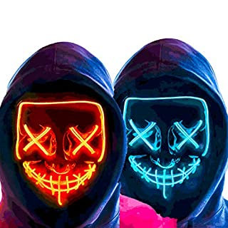 MeiGuiSha 2 Pack LED Halloween Mask Halloween Scary Cosplay Light up Mask for Festival Parties (RED & BLUE)