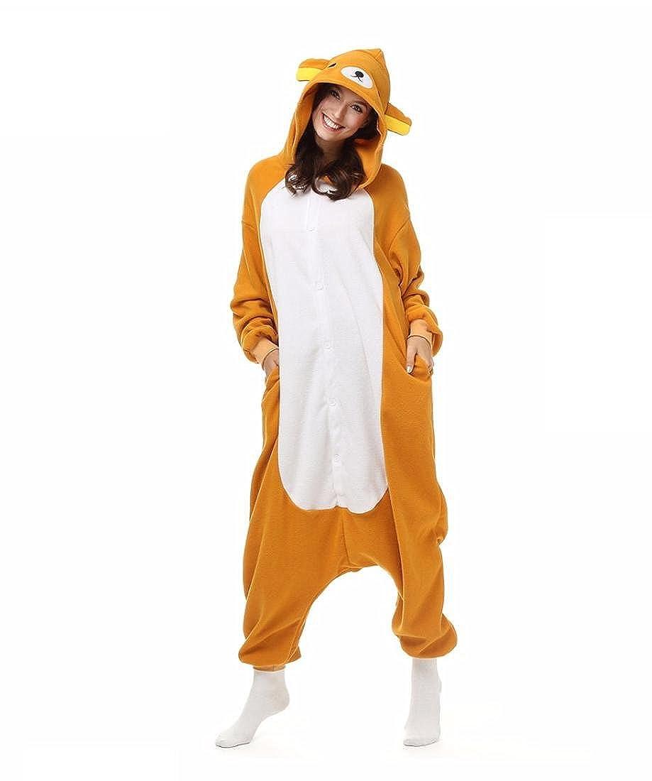 WRH Kigurumi Pyjamas Cosplay/Bär Trikotanzug/Onesie Halloween Tier Nachtwäsche Gelb Patchwork Polar Fleece Kigurumi Unisex Halloween