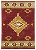 Rugs 4 Less Collection Southwest Native American Indian Area Rug Design Area Rug R4L 219-30 Burgundy (5'X7'3'')