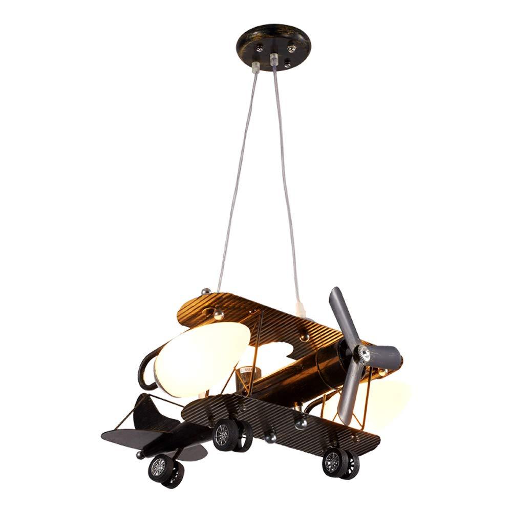 アンティークledシャンデリア、漫画クリエイティブアイアン航空機型ガラス照明装飾シャンデリア天井ランプ北欧保育園リビングルームペンダントライト B07TQ838FM