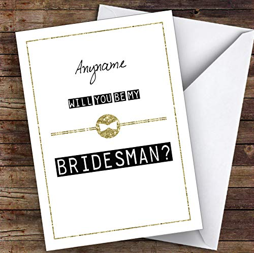 Black & White Bow Tie Will You Be My Bridesman Personalized Greetings Wedding Card
